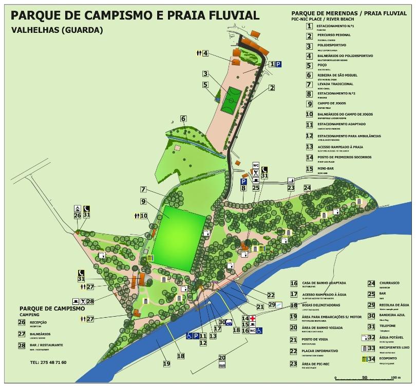 Mapa da Zona de Lazer da Praia Fluvial e Parque de Campismo de Valhelhas